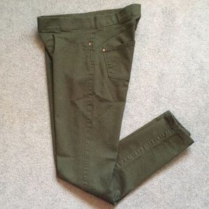 Denim&Co. Green Stretch Fitted Ankle Jeans